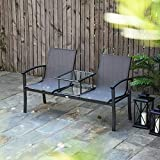 """60"""" 2 Seats Garden Chair Patio Loveseat Bench Mesh Fabric Seat w/Table and"""