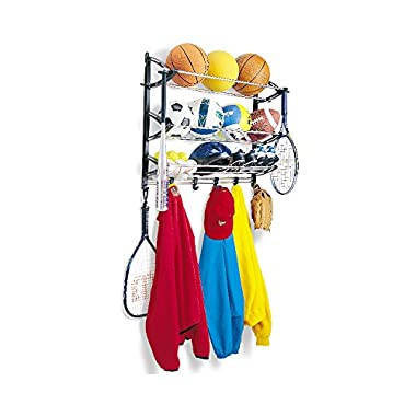 Lynk Sports Rack with Adjustable Hooks - Sports Gear Storage - Black/Silver