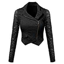 Awesome21 Women's Gorgeous Lace Delicate Short Blazer Jacket with Zipper Closure