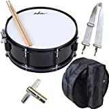ADM Snare Drum Set with Bag, Sticks, and Strap, for Beginners and Students, Gloss Black