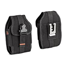 For Samsung Rugby 2 SGH-A847, Rugby 3 SGH-A997, Rugby 4 SM-B780A HEAVY DUTY RUGGED Canvas Vertical AGOZ Case Holster w/ Metal Clip, Belt Loops, Velcro Closure, Card Slot & Front Buckle Clip