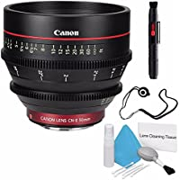 Canon CN-E 50mm T1.3 L F Cine Lens (International Model no Warranty) + Deluxe Cleaning Kit + Lens Cap Keeper 6AVE Bundle 4