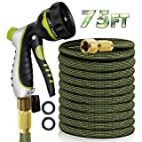 """RioRand Garden Hose Water Hose Expandable Hose 75FT Lightweight Flexible Durable Expanding Water Hose with 8 Pattern Spray Nozzle,3/4"""" Solid Brass Connector Garden Hose Pipe for Irrigation,Cleaning (75FT)"""