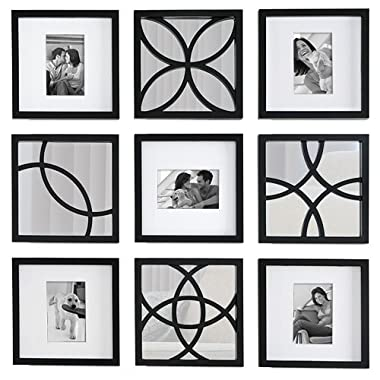 Beyond Words Hennepin 9-Piece Frame and Mirror Set, Black