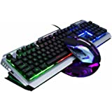 Colorful Keyboard and Mouse Combo for Gamers,Color Changing Keyboard Mouse,Lighted Gaming Keyboad,USB Gaming Mouse Keyboard S