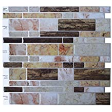 """Crystiles® Peel and Stick Self-Adhesive Vinyl Wall Tiles, Multi-Color Marble Style, Item# 91010829, 10"""" X 10"""", Set of 6"""