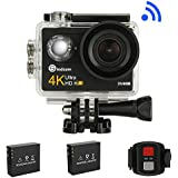 Sindcom Action Camera Remote Control 4K HD WiFi 12MP Waterproof Sports Camcorder 170 Degree Wide Angle Lens 2 1050mAh Rechargeable Batteries Specialized Portable Travel Case Include 20 Valuable Kits