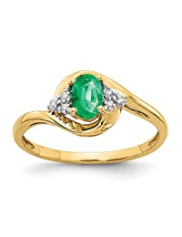 14k Yellow Gold Diamond And Emerald Engagement Ring Size 7 (0.41ct)