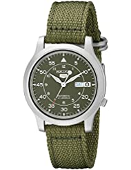 Seiko Mens SNK805 Seiko 5 Automatic Stainless Steel Watch with Green Canvas