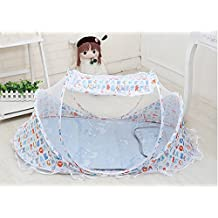 Baby Mosquito Netting,Infant Baby Bed Portable Mosquito Net Folding Baby Crib Netting Keep Away You Baby from Mosquito Flies and Insects,Portable Baby Cots Newborn Foldable Crib Net with Summer Sleeping Mat(Cartoon)