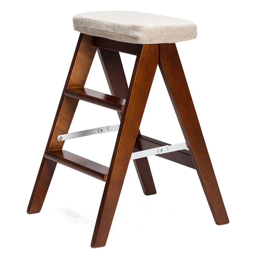 D MEIDUO Chairs Solid Wood Foldable Step Stool Household Ladder 39L x 20W x 59H (color   E)
