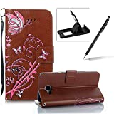 Strap Leather Case for Samsung Galaxy A5 2016 A510,Portable Wallet Case for Samsung Galaxy A5 2016 A510,Herzzer Bookstyle Retro Brilliant Butterfly Flower Pattern Stand Magnetic Smart Leather Case with Soft Inner for Samsung Galaxy A5 2016 A510 + 1 x Free Black Cellphone Kickstand + 1 x Free Black Stylus Pen - Brown