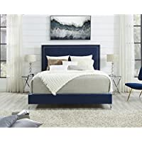 Inspired Home Monroe Velvet Nailhead Trim Platform Bed King Size , Navy