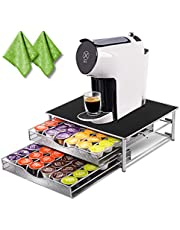 Deluxe Double Layer Storage Drawer Holder for Espresso Capsules 72 Coffee Pod Holder with 2 Pc Cleaning Rags