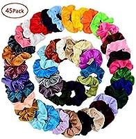 Chloven 45 Pcs Hair Scrunchies Velvet Elastics Hair Bands Scrunchy Hair Tie Ropes Scrunchie for Women Girls Hair...