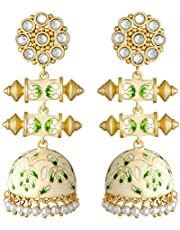 Aheli Enamel Kundan Pearl Wedding Drop Dangle Earrings Flower Shape Jhumki Ethnic Bollywood Fashion Jewelry for Women