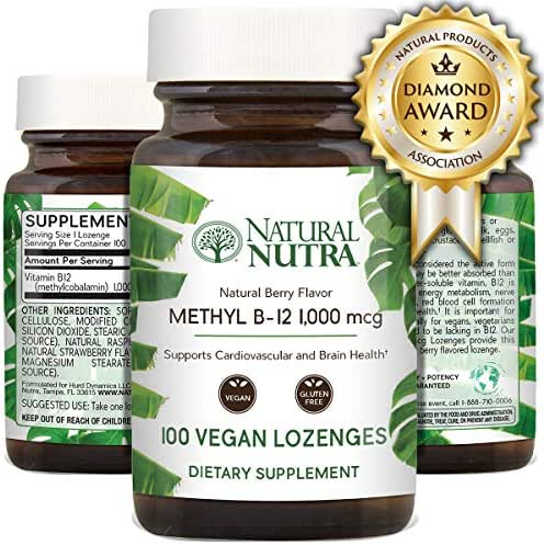Natural Nutra Vegan Methyl B12 Sublingual Lozenges (Methylcobalamin Vitamin B 12), 1000 mcg, Delicious Berry Flavor, Cardiovascular, Energy and Brain Health Supplement, Gluten Free, 100 Count