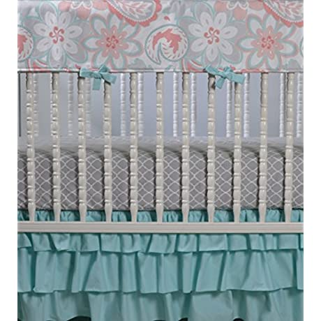 Lavender Linens Three Piece Bumperless Crib Bedding In Coral Gray And Aqua Mint