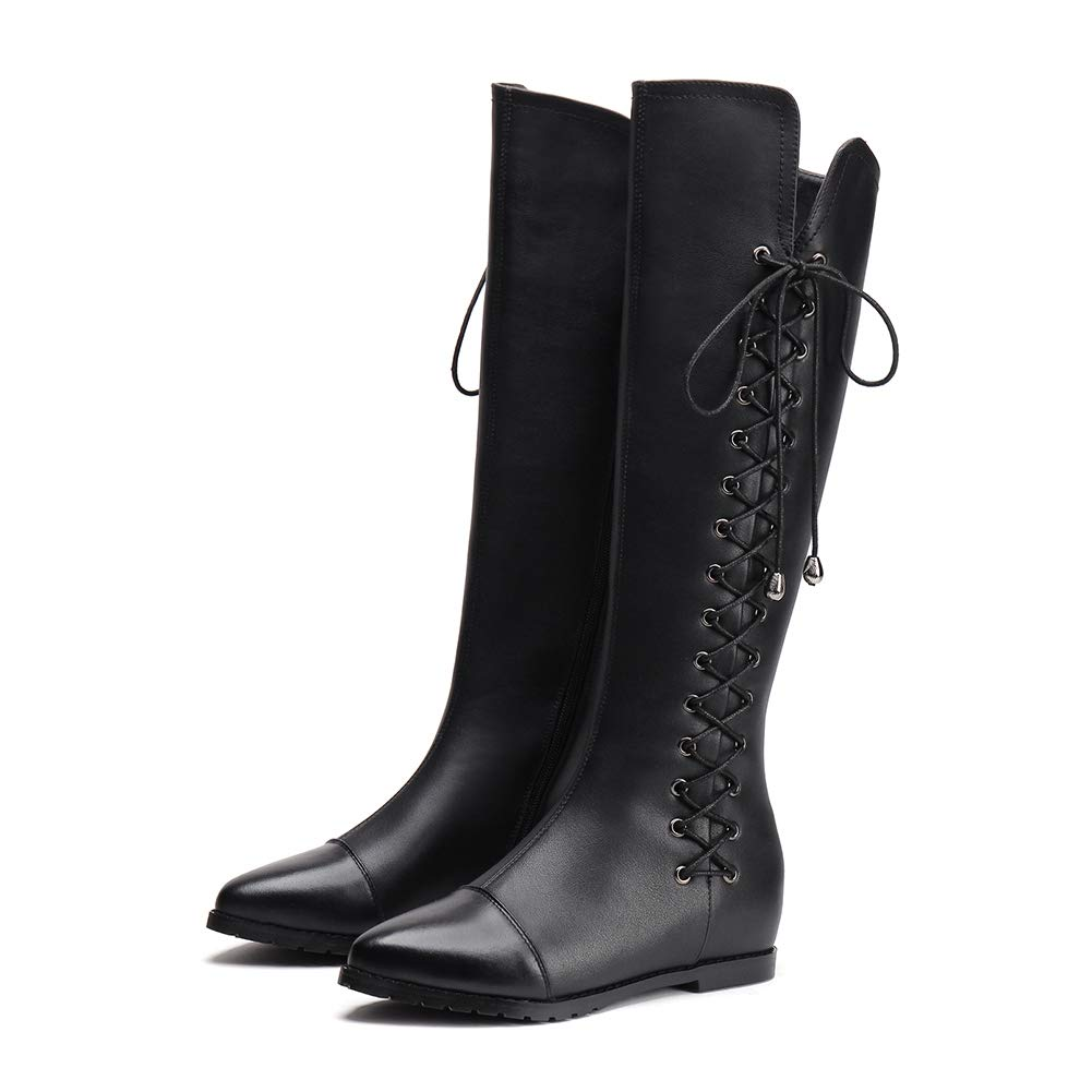 Black Women Winter Knee-High Boots Fashion Genuine Leather Square High Pointed Toe shoes