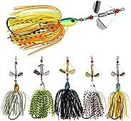 Fishing Spinnerbait Buzzbait Kit - Jigs Fishing Lure Hard Spinner Bait Lures Multicolor Rubber Skirts Swimbait