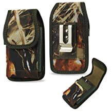 Heavy Duty Rugged Camo Hunting Vertical Case with Velcro Closure and Metal Clip on the back fits Motorola Moto X with the Otterbox Defender or Commuter Case on it. Also has canvas belt loop underneath the clip.