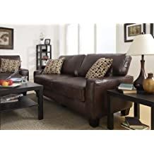 Serta at Home Monaco Collection Deluxe Sofa, Eco-Friendly Biscuit Brown Bonded Leather, CR-43595