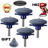 Upgraded Universal Wear Resistant Lawn Mower Sharpener for Garden Tools Any Power Drill Hand Drill (4 Pack)