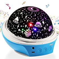 Star Night Light Projector, MAD GIGA Night Light Projector Lamp, USB & Battery Powered, Decorative Lamp Romantic Mood Light for Baby Kids Adults Nursery Bedroom Living Room Dream Rotating Projection Lamp Equipped with 2 Lampshades
