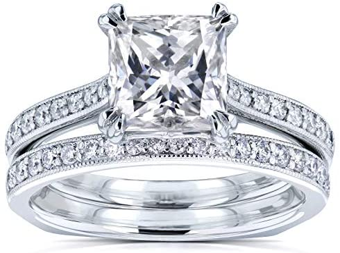 Kobelli Princess Moissanite Square Shank Trellis Bridal Set 2 1/3 CTW 14k White Gold (HI/VS, GH/I)