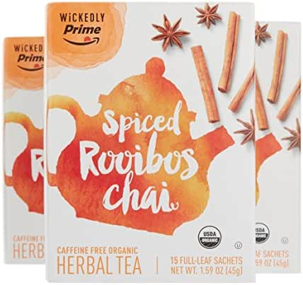 Wickedly Prime Organic Spiced Rooibos Chai Tea, Herbal, 15 count (Pack of 3)