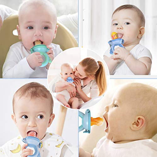 Eccomum Baby Food Feeder/Fruit Feeder Pacifier (2 Pack) - Infant Teething Toy Teether in Appetite Stimulation, 3 Sizes of Nipple for Replacement, Blue/Green