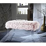 Iconic Home Diego Modern Contemporary Faux Fur Acrylic Leg Bench, Pink