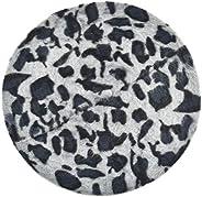 ZLYC Womens Rabbit Fur French Beret Hat Leopard Print