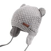 XIAOHAWANG Warm Baby Hat Cute Bear Toddler Earflap Beanie for Fall Winter (0-7Months, Grey)