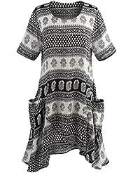 CATALOG CLASSICS Womens Tunic Top - Annapurna Short Sleeve Blouse with Pockets
