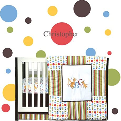 Dr Seuss ABC 4 PC Crib Bedding Set 340 Polka Dots And Name 7 Inch Brown Bundle