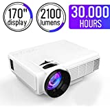 Mini Projector, Multimedia Home Theater Video Projector with 2100 Lumens 30,000Hours Support HDMI VGA USB AV SD Connected with Laptop/iPad Smartphone Xbox for Movie Game Party, white