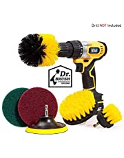6Piece Drill Brush Attachment Set Scouring Pads Power Scrubber Brush Scrub Pads Cleaning Kit - All Purpose for Bathroom Surfaces, Grout, Floor, Tub, Shower, Tile, Corners, Kitchen Cooktop, Pots