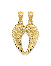 14k Yellow Gold Break Apart Wings Pendant Charm Necklace Religious Angel Fine Jewelry Gifts For Women For Her