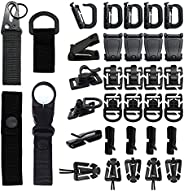 Milageto 34pcs Molle Attachments for Vest Strap D-Ring Keychain, Tactical Molle Key Ring Gear Vest Belt Lockin