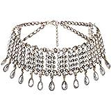 QTMY Diamond Statement Choker Necklace Jewelry for Women (Golden)