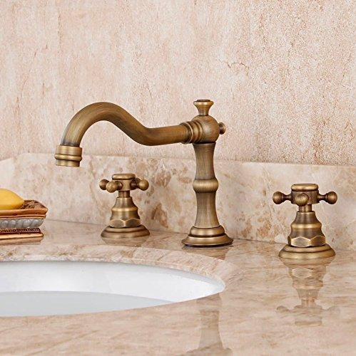 LSRHT Basin Taps Mixer Kitchen Sink Faucet Copper Three Holes Hot and Cold Basin gold Ceramics Bathroom accessories
