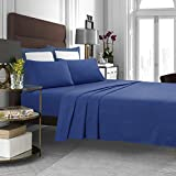Tribeca Living Luxury Solid Flannel Deep Pocket Sheet Set, Dark Blue, Queen