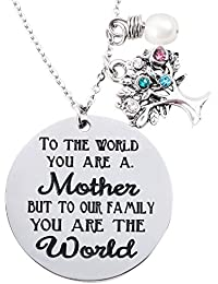 Family Tree Necklace With Birthstone Stainless Steel Pendant for Mom Grandmother Mother's Day Gift