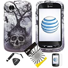 4 items Combo: ITUFFY (TM) LCD Screen Protector Film + Mini Stylus Pen + Case Opener + Silver Blue Greyish Tree Skull Design Rubberized Snap on Hard Shell Cover Faceplate Skin Phone Case for At&t ZTE Avail Z990 (1st Generation only) / ZTE Merit 990G (Straight Talk , Net10)