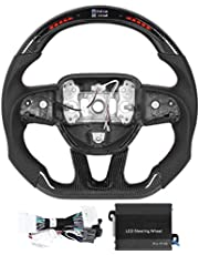 Steering Wheel Carbon Fiber Automotive Racing Steering Wheel LED Shift Lights Display Steering Wheel Fit for Dodge Challenger/Charger SRT HELLCAT 2015-2020