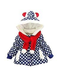 Happy Cherry Kids Girls Snow Wear Warm Jacket Coat Hoodie with Scarf Polka Dot