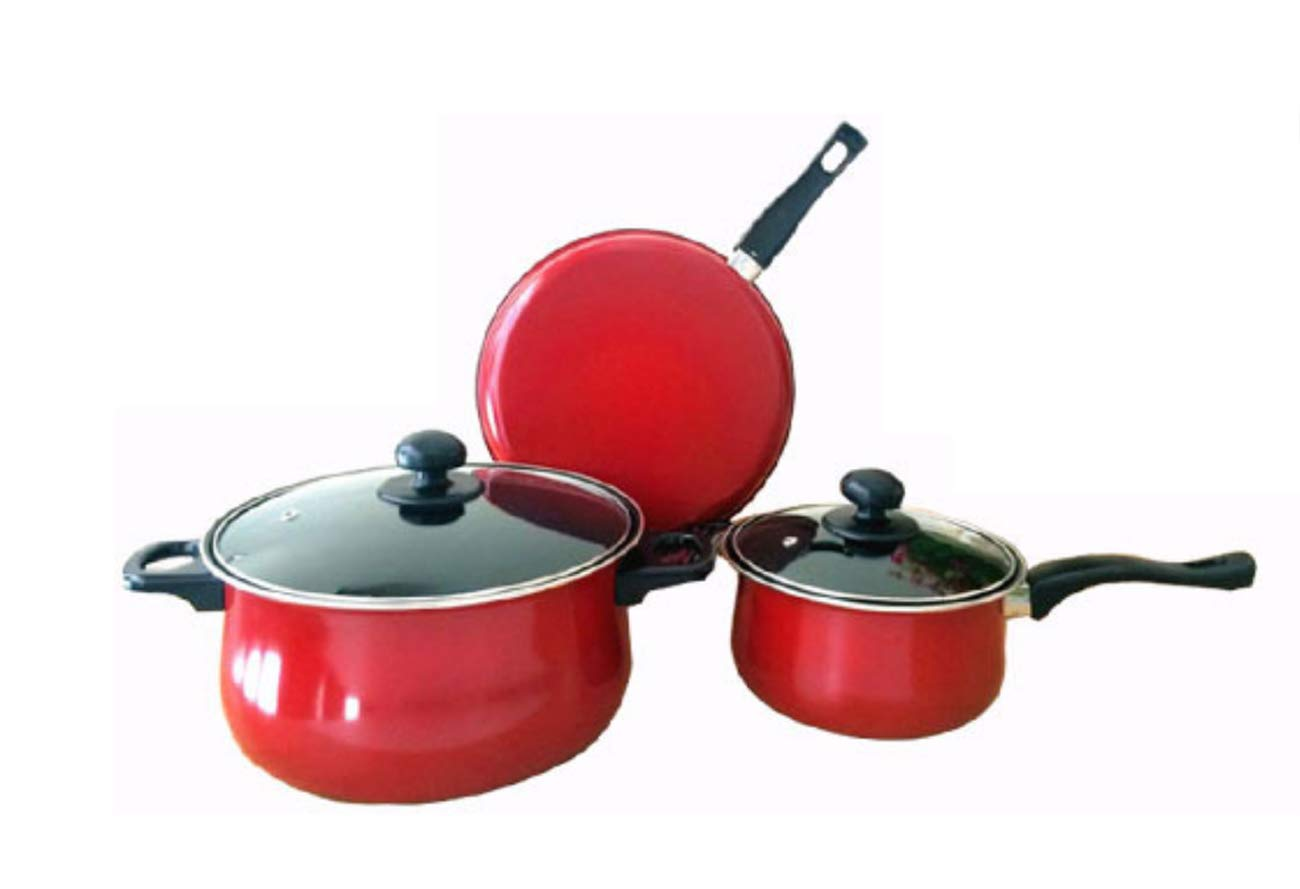 Antihaftpfanne Dreiteilige Hausküche Rot-Lila Blau,ROT