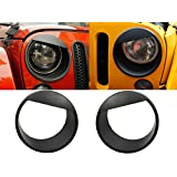 [Upgrade Clip-in Version] Opar Black Angry Bird Headlight Cover Bezels for 07-17 Jeep Wrangler & Wrangler Unlimited JK - Pair