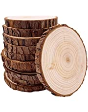Unfinished Natural with Tree Bark Wood Slices 10 Pcs 4.2-4.7 inch Disc Coasters Wood Coaster Pieces Craft Wood kit Circles Crafts Christmas Ornaments DIY Crafts with Bark for Crafts Rustic Wedding